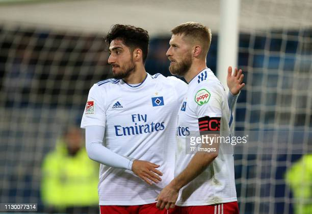 Berkay Oezcan of Hamburger SV and Aaron Hunt of Hamburger SV celebrate their team's first goal during the Second Bundesliga match between Hamburger...