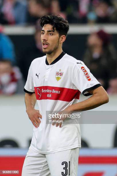 Berkay Oezcan of Stuttgart looks on during the Bundesliga match between VfB Stuttgart and Hertha BSC at MercedesBenz Arena on January 13 2018 in...
