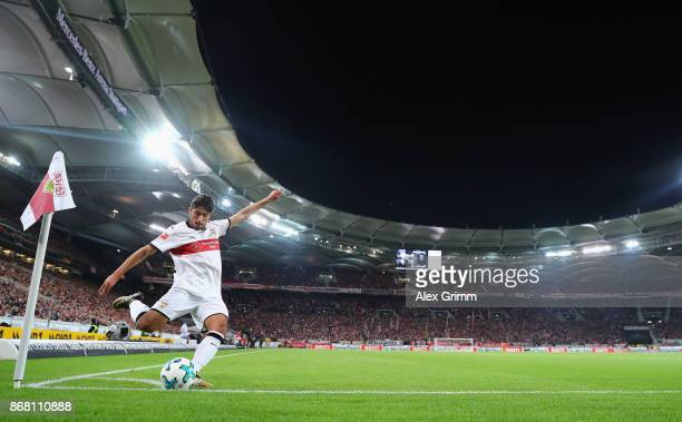 Berkay Oezcan ss shoots a corner during the Bundesliga match between VfB Stuttgart and SportClub Freiburg at MercedesBenz Arena on October 29 2017 in...