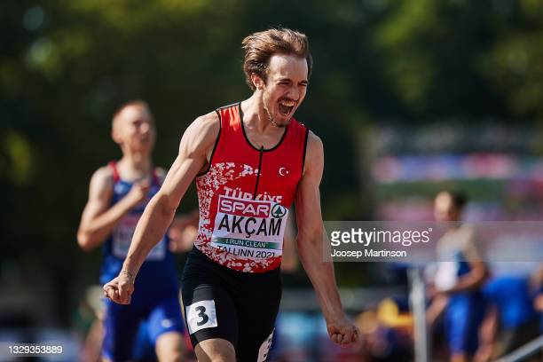 Berke Akcam of Turkey reacts in the Men's 400m Hurdles Final during European Athletics U20 Championships Day 4 at Kadriorg Stadium on July 18, 2021...