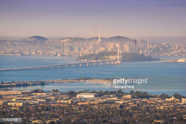 berkeley and san francisco waterfronts - oakland california skyline stock pictures, royalty-free photos & images