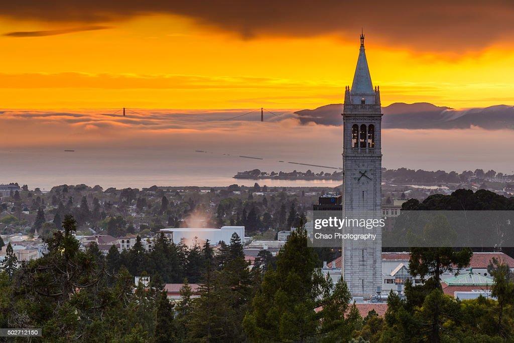Berkeley Campanile and Low Fog at Golden Gate Bridge : Stock Photo