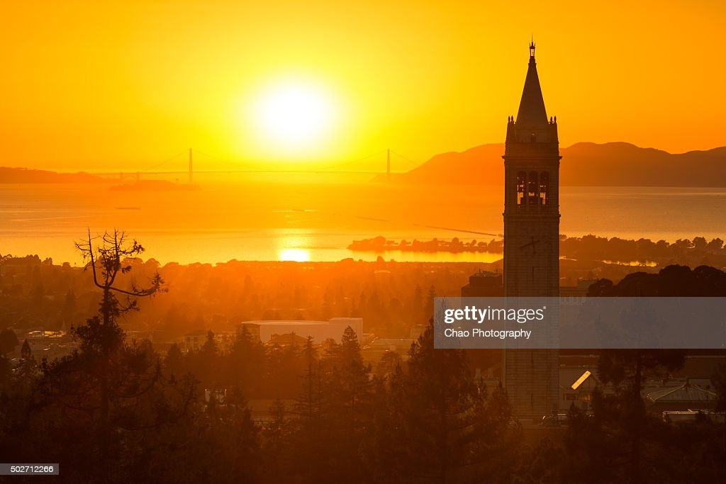 Berkeley Campanile and Sunset : Stock Photo