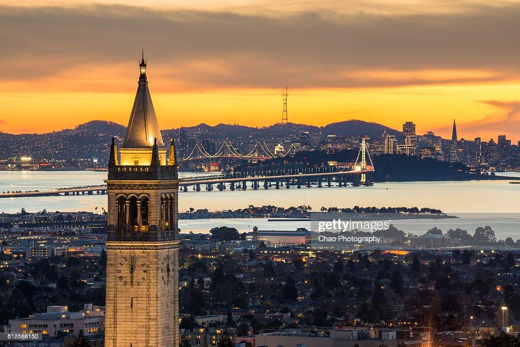 Berkeley Campanile with Bay Bridge and San Francisco Skyline : Stock Photo