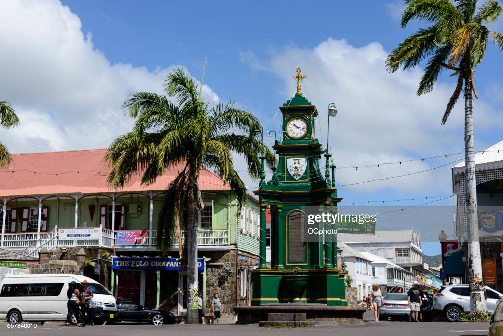 Berkeley Memorial Clock in downtown Basseterre, Saint Kitts : Stock Photo