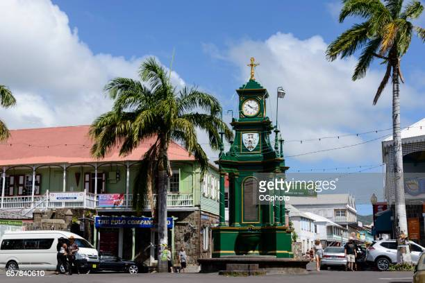 berkeley memorial clock in downtown basseterre, saint kitts - st. kitts stock photos and pictures