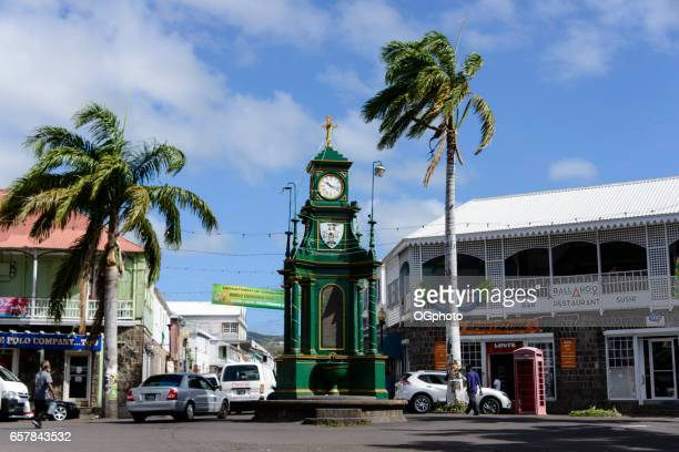 berkeley memorial clock in downtown basseterre, saint kitts - ogphoto stock photos and pictures