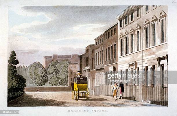 Berkeley Square Mayfair London 1813 View with a coach and figures in the foreground
