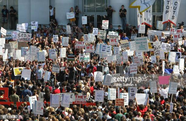 Berkeley students and faculty hold a demonstration in front of Sproul Hall on the UC Berkeley campus on September 24 2009 in Berkeley California...