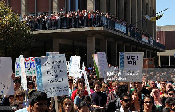Berkeley students carry signs during a demonstration in front of Sproul Hall on the UC Berkeley campus on September 24 2009 in Berkeley California...