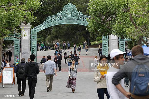 Berkeley students walk through Sproul Plaza on the UC Berkeley campus April 23 2012 in Berkeley California According to reports half of all recent...