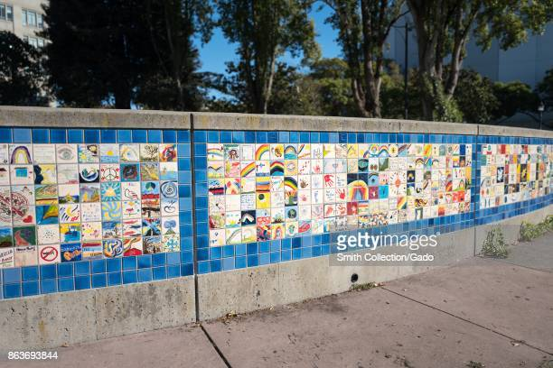 Berkeley World Wall of Peace at Martin Luther King Jr Civic Center Park in Berkeley California which was the site of violent 2017 protests and...