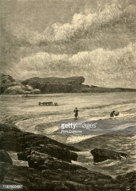 Berkeley's Seat' 1872 People bathing in the Atlantic Ocean at Rhode Island USA The area was known as Berkeley's Seat after the Irish bishop George...