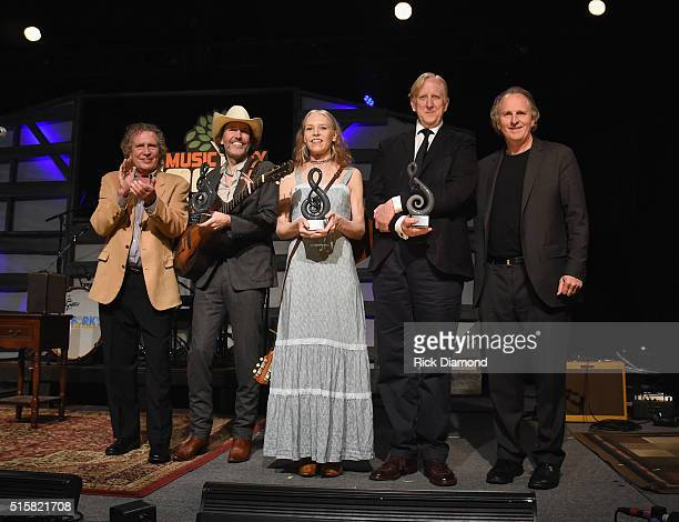 Berklee Professor Pat Pattison with Berklee President Roger Brown Present American Master Awards To Dave Rawlins Gillian Welch and T Bone Burnett on...