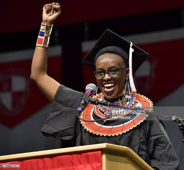 Berklee student Beth Njoki Mwangi of Kenya delivers the student address at the Berklee College of Music Commencement day ceremony at Agganis Arena at...