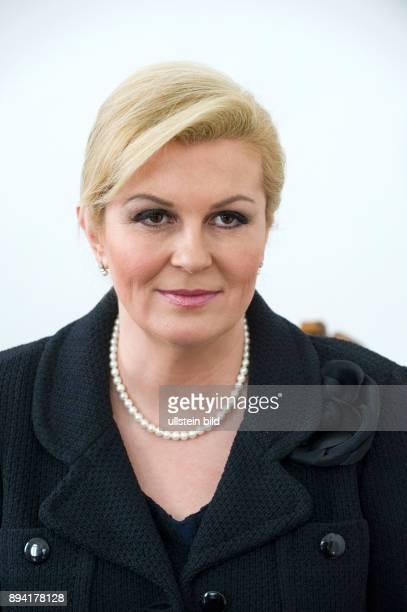 Berlin Kolinda Grabar Kitarovic diie kroatische Präsidentin spricht in der Botschaft der Republik Kroatien