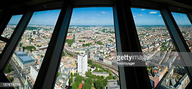 Berlin aerial cityscape panorama through Fernsehturm windows Germany