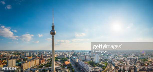 berlin aerial panorama over fernsehturm alexanderplatz landmarks sunset cityscape germany - berlin stock pictures, royalty-free photos & images