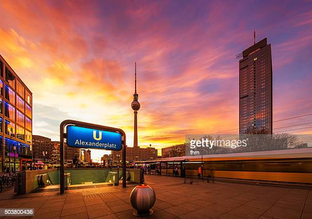 Berlin Alexanderplatz colorful sunset