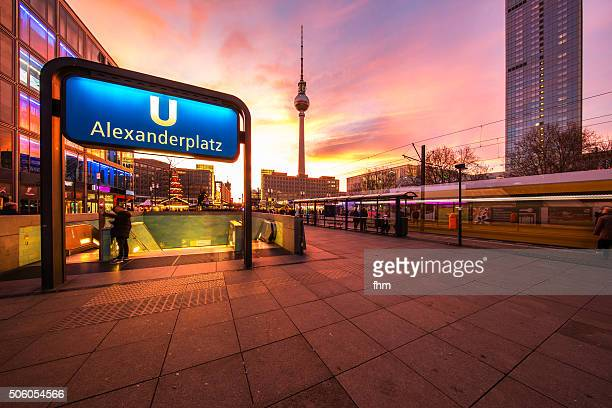 berlin alexanderplatz - underground sign stock pictures, royalty-free photos & images