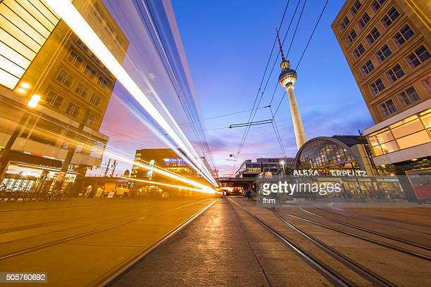 Berlin Alexanderplatz - TV-Tower with fast tramway