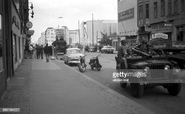 Berlin at Cold War: Confrontation of Russian and American forces at Checkpoint Charlie in Berlin