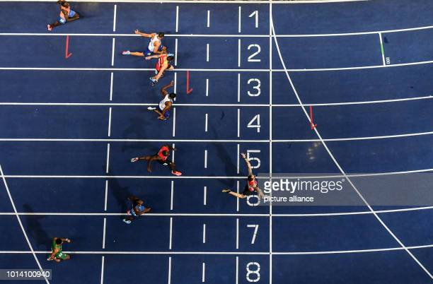 Athletics European Championships in the Olympic Stadium 200 m Men Final Ramil Guliyev from Turkey wins ahead of Nethaneel MitchellBlake from Great...