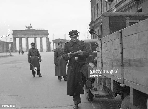 Berlin blockade tightensSovietcontrolled German police make a close check of a German truck bound for the British sector of Berlin This checkpoint...