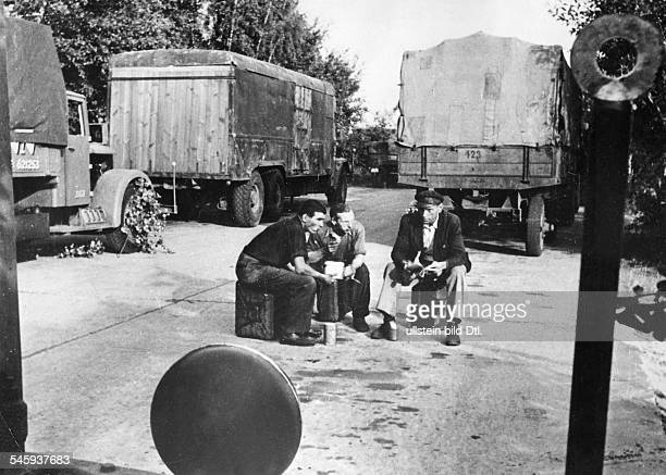 Berlin Blockade Truck drivers waiting at the blocked border in Helmstedt for the continuation of their journey