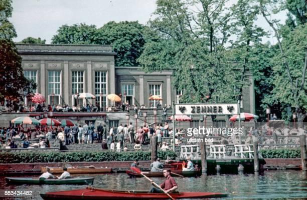 Berlin boat cruise at the Spree river in Treptow Zenner beer garden and restaurant