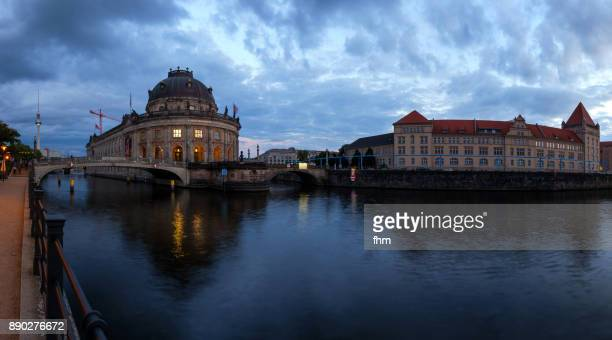 Berlin - Bodemuseum, Museum Island and TV-Tower with reflection in Spree river (Berlin-Mitte, Germany)