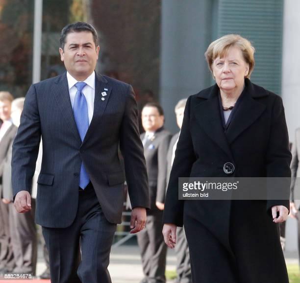 Berlin, Bundeskanzleramt, Empfang des Präsidenten der Republik Honduras, Juan Orlando Hernández, mit militärischen Ehren durch Bundeskanzlerin Angela...