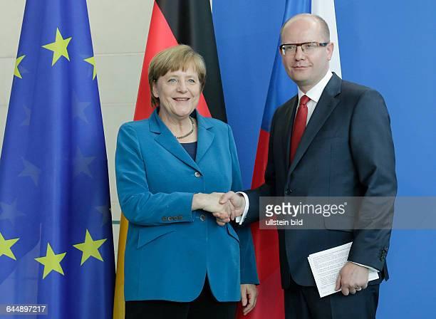 Berlin, Bundeskanzleramt, Empfang des tschechischen Ministerpräsidenten Bohuslav Sobotka, durch Bundeskanzlerin Angela Merkel, Foto: Angela Merkel,...