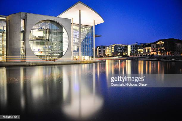 berlin - bundestag at blue hour - bundestag stock photos and pictures