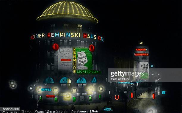 Berlin by night Haus Vaterland on Potsdamer Platz Pleasure palace in use from 1928 to 1943 It contained the largest cafe in the world a major cinema...