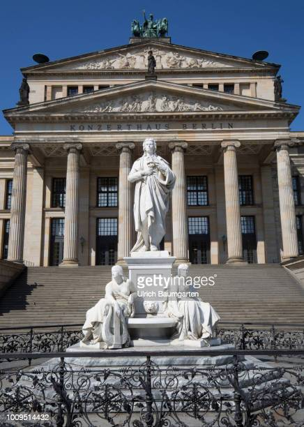 Berlin capital of the Federal Republic of Germany Exterior view of the Konzerthaus Berlin with Schiller monument at the Gendarmenmarkt
