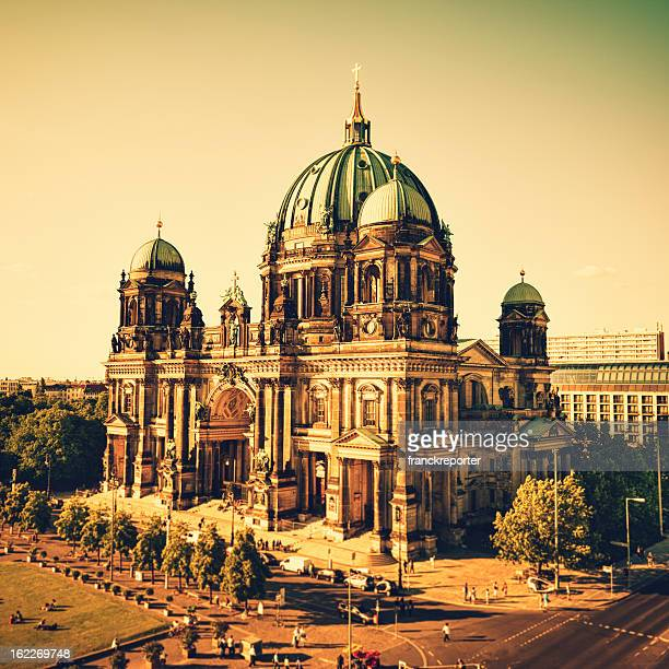 berlin cathedral dome at sunset - east berlin stock photos and pictures