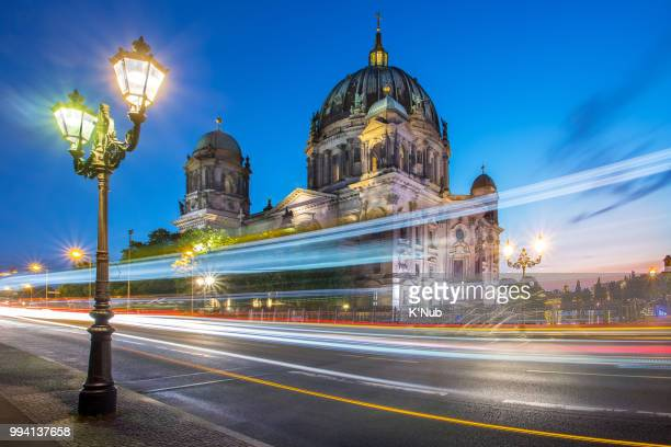 Berlin cathedral or Berliner dom at sunset time with tunnel path for passenger to pier of boat transporation