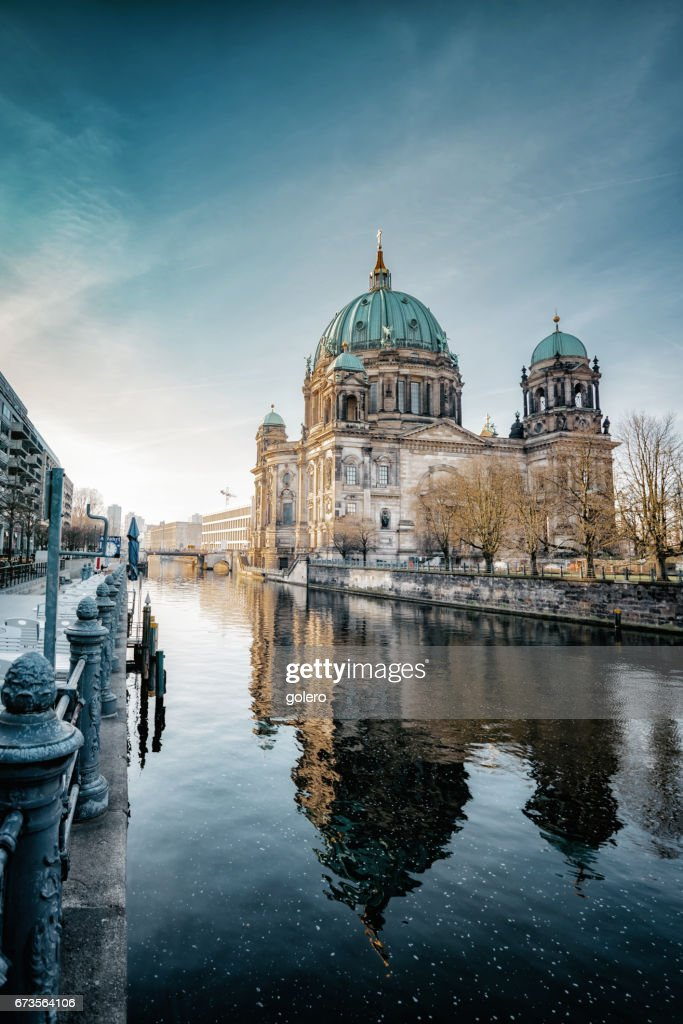 Berlin Cathedral with reflection in river at morning hour : Stock Photo