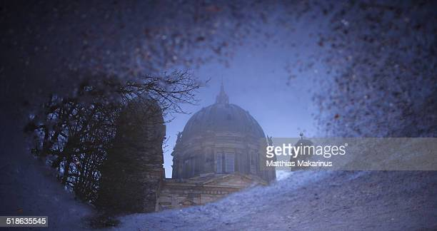 berlin cathedral with reflection - makarinus stock photos and pictures