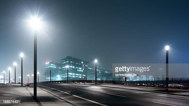 Berlin Central station at foggy night