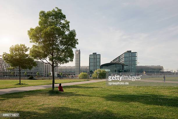 Berlin central station with park and trees