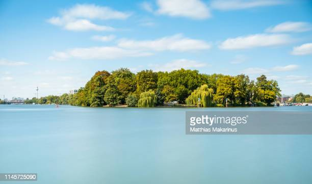 berlin city island summer skyline with spree river reflection and sunlight - köpenick stock pictures, royalty-free photos & images