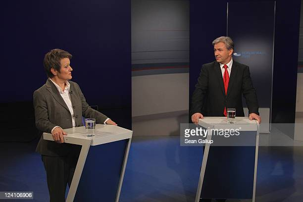 Berlin city mayor and incumbent candidate of the German Social Democrats Klaus Wowereit and Renate Kuenast mayoral candidate of the German Greens...