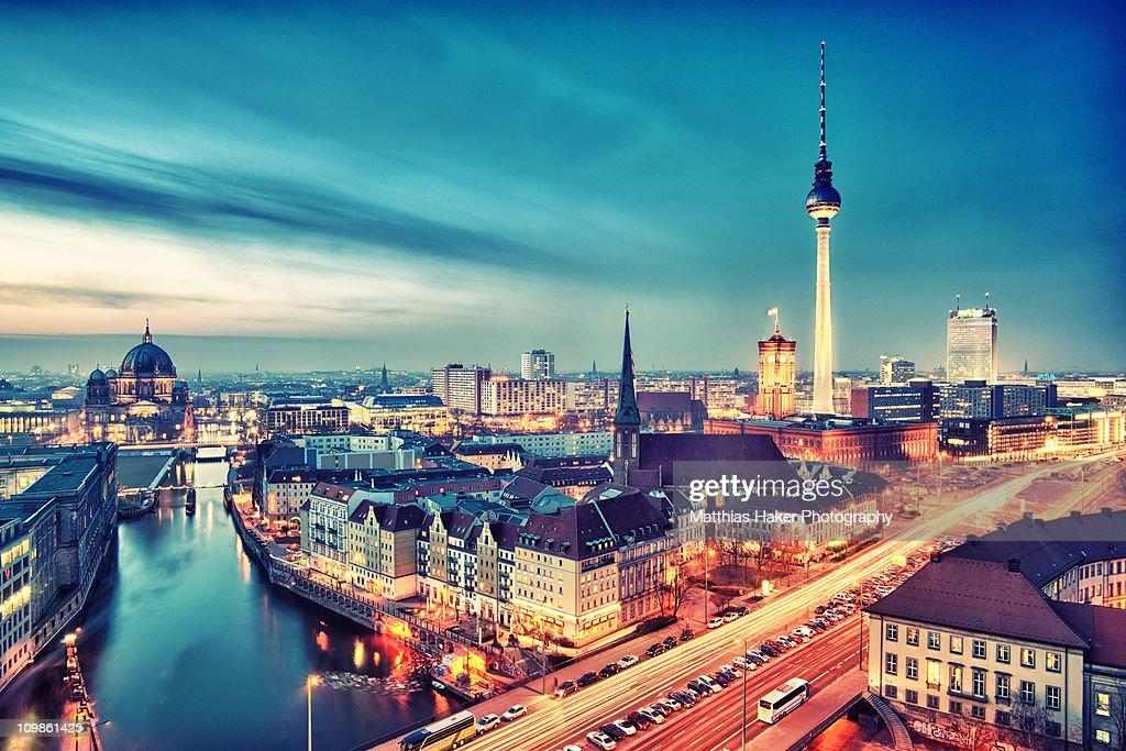 Berlin City Nights : Stock Photo