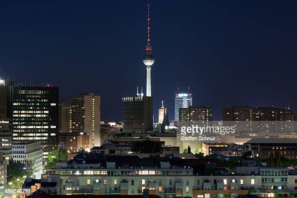 Berlin city panorama at night