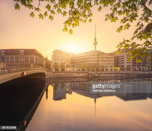 Berlin City Summer Skyline with Spree River Reflection and Sunlight