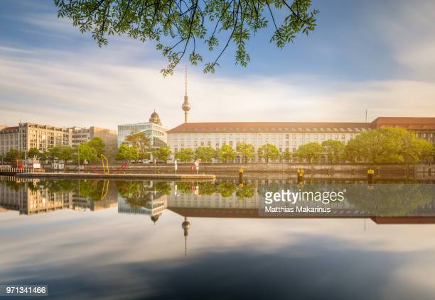 berlin city summer skyline with spree river reflection and sunlight - makarinus stock photos and pictures