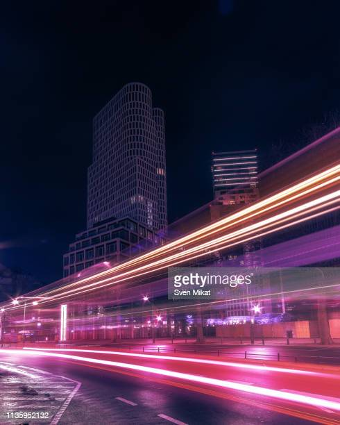 berlin city view at night - fluorescent light stock pictures, royalty-free photos & images