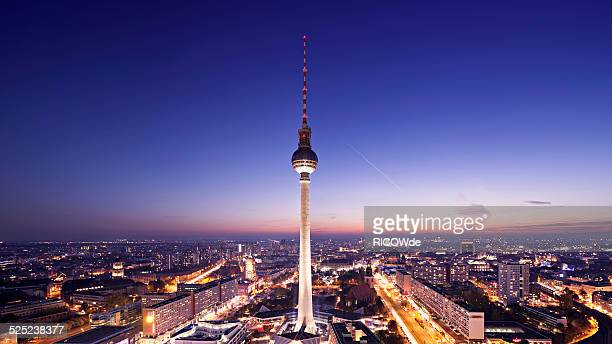 Berlin cityscape at sunset